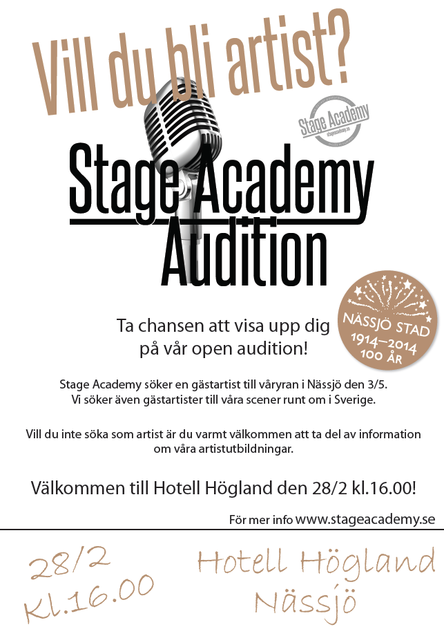 Affisch A3, Stage Academy Audition Nässjö