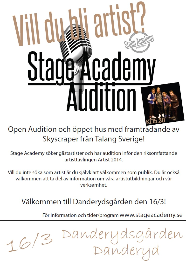 Affisch A3, Stage Academy Audition Danderyd